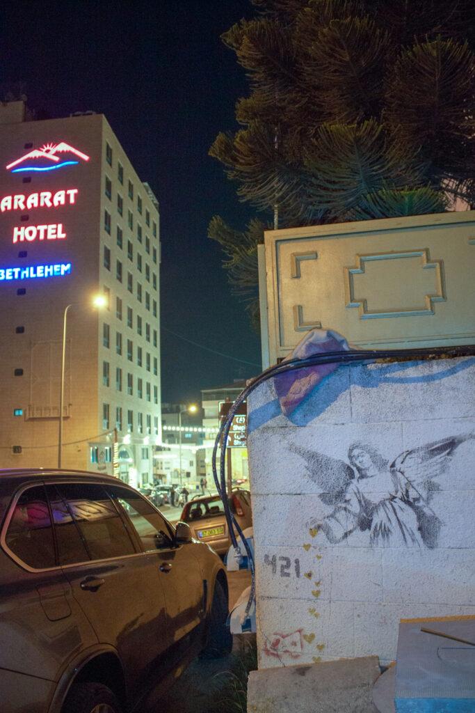 Angel Sprinkling Hearts by Banksy in Bethlehem