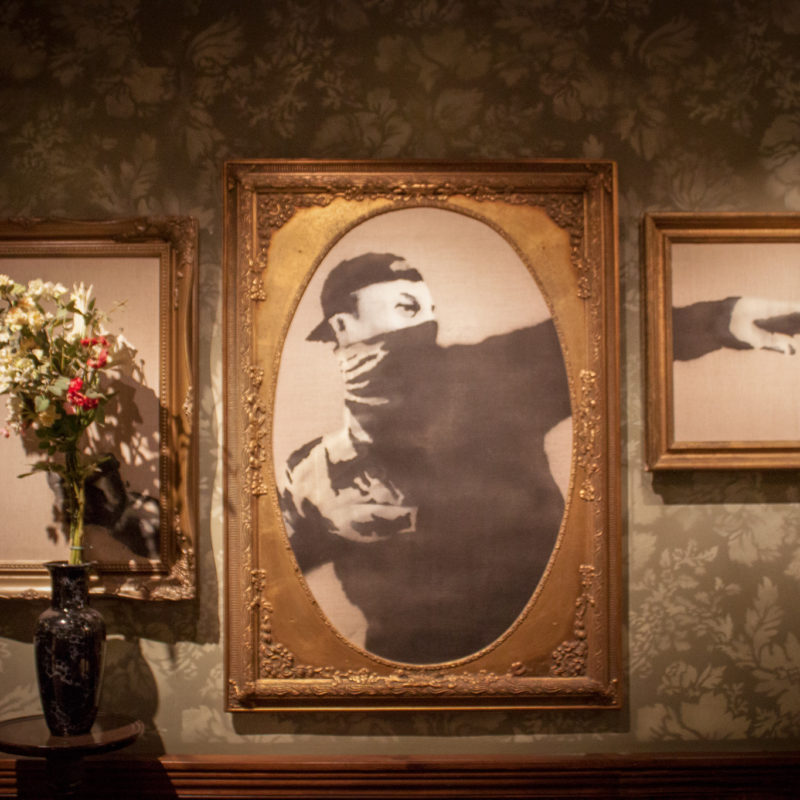 Flower Thrower by Banksy in Walled Off Hotel