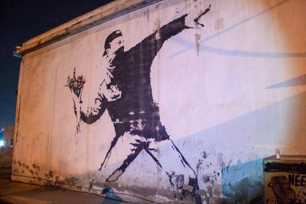 Rage, Flower Thrower by Banksy in Bethlehem
